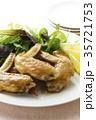 手羽先の甘辛焼き 手羽先焼き 肉料理の写真 35721753