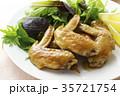 手羽先の甘辛焼き 手羽先焼き 肉料理の写真 35721754