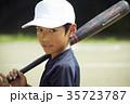 少年野球 バッティングの練習をする男の子 ポートレート 35723787