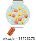 ハーバリウムのイラスト(丸型・オレンジ) 35726273