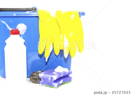 Cleaning items in bucket isolated on whiteの写真素材 [35727035] - PIXTA