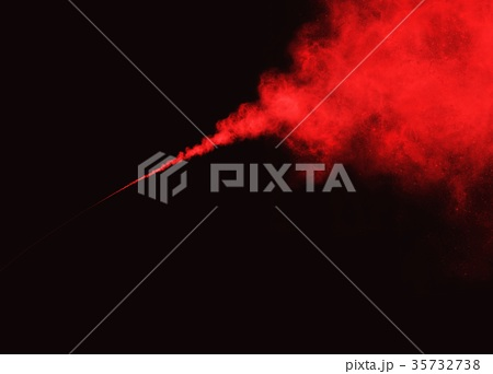 Abstract Red Smoke or Powder on Black Background 35732738