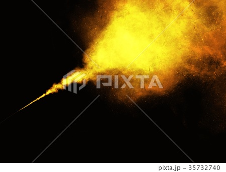 Abstract Yellow Smoke or Powder Black Background 35732740