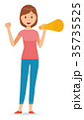 女性 半袖 夏服のイラスト 35735525