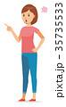 女性 半袖 夏服のイラスト 35735533