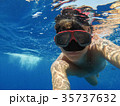 A man with an underwater mask swims in the Sea 35737632