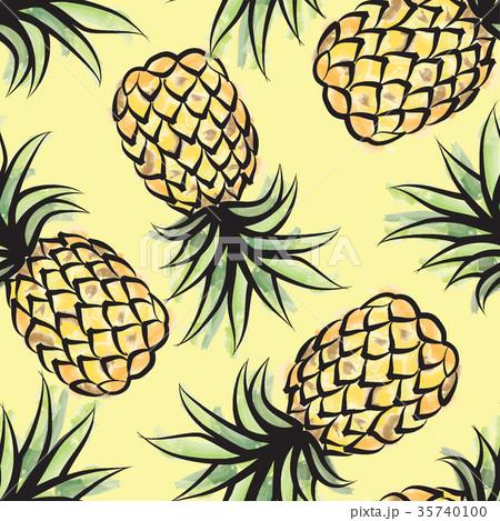 Pineapple seamless pattern Juicy fruits background 35740100