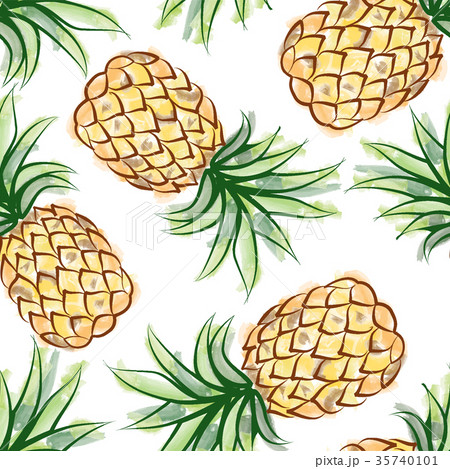 Pineapple seamless pattern. Juicy fruit background 35740101