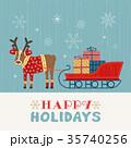 クリスマス 動物 そりのイラスト 35740256