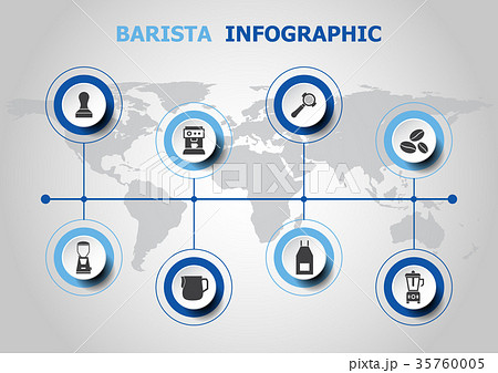 Infographic design with barista icons 35760005