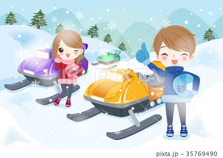 couple is snowmobiling 35769490