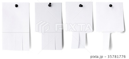 blank white paper with tear off tabsのイラスト素材 35781776 pixta