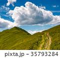 tourist footpath through mountain ridge 35793284