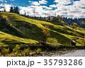 grassy rural hillside near the village in autumn 35793286