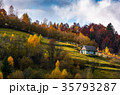 abandoned house in autumn forest on hillside 35793287