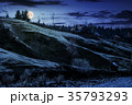 grassy rural hillside near the village at night 35793293