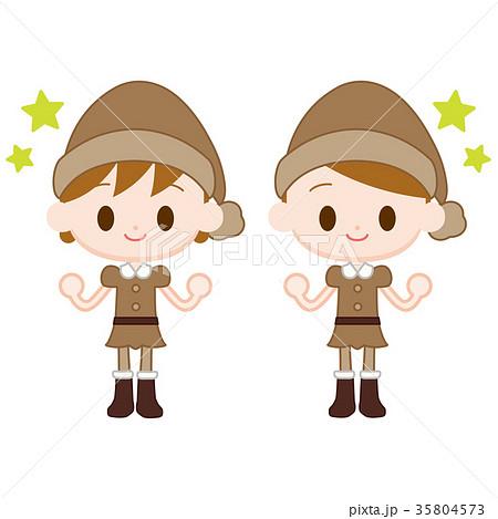 妖精の服を来た男の子女の子 ガッツポーズ 35804573