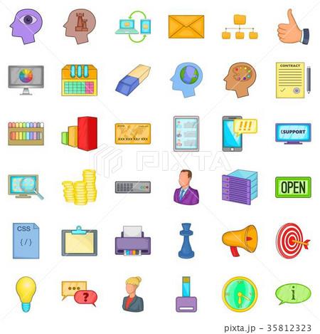 Open market icons set, cartoon style 35812323