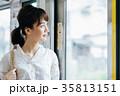 若い女性 電車 撮影協力・京王電鉄株式会 35813151