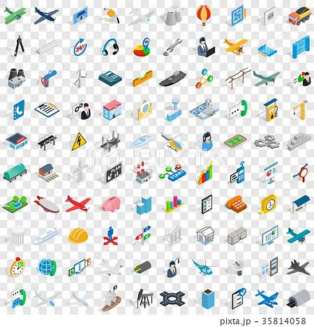 100 engineering icons set, isometric 3d style 35814058