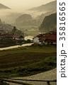 農村 棚田 朝霧の写真 35816565