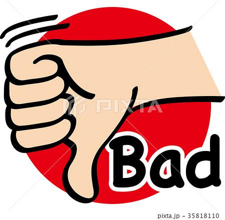 ハンドサイン 指文字 badのイラスト素材 35818110 pixta