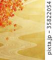 和風背景素材(川の流れ、紅葉) 35822054