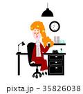 オフィス 女性 コーヒーのイラスト 35826038