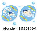 水泳 男の子 子供のイラスト 35826096