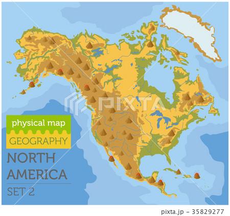 north america physical map elementsのイラスト素材 35829277 pixta