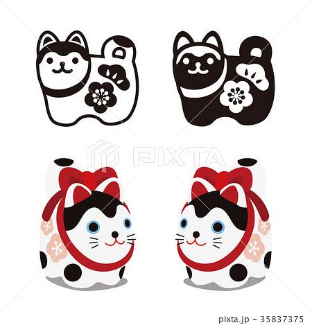狛犬のアイコンイラスト カラーと白黒 35837375