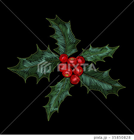 Christmas holly berry embroidery patch. New year 35850828