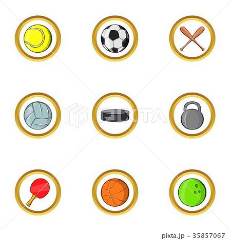 Classic sport icon set, cartoon style 35857067