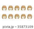 女性の顔 いろんな表情セット 35873109