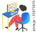 パソコン操作する女性 35873870