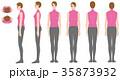 巻き肩 姿勢 全身のイラスト 35873932