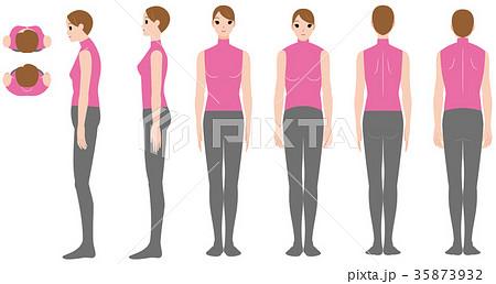 巻き肩の女性の姿勢 35873932