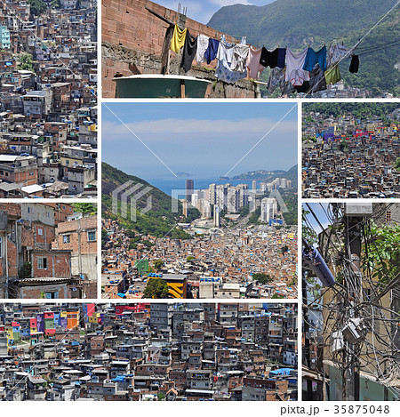 collage of favela rocinha rio de janeiro brazil の写真素材