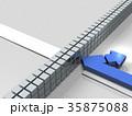 進路を阻まれて撤退する様子を表すアブストラクト3DCGイラスト 35875088