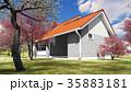 summer cottage in the spring garden 3d rendering 35883181