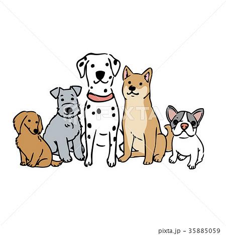 犬 おすわり イラストのイラスト素材 35885059 Pixta