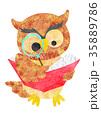 読書するフクロウ 35889786