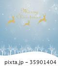 クリスマスのイメージ背景画像|水色 雪の結晶と樹氷の風景とトナカイ 35901404