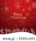 クリスマスのイメージ背景画像|赤 雪の結晶と樹氷の風景と星のオーナメント 35901405