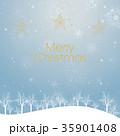 クリスマスのイメージ背景画像|水色 雪の結晶と樹氷の風景と星のオーナメント 35901408