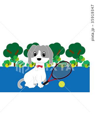 犬とテニスラケットとテニスボールのイラストはがきテンプレート 35919347