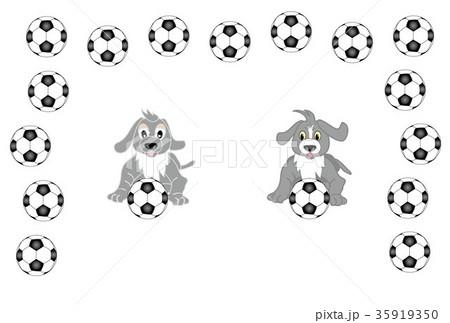 犬とサッカーフットボールのかわいいイラストはがきテンプレートの