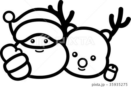 サンタクロースとトナカイ クリスマス 白黒線画ぬり絵 35935275