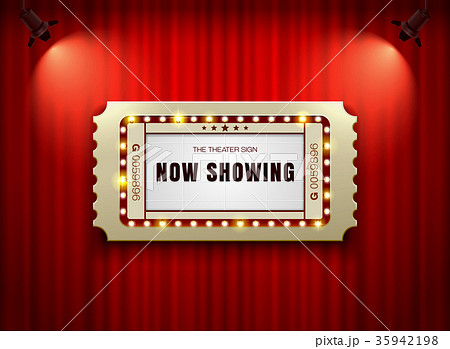 theater sign ticket on curtain with spotlight 35942198