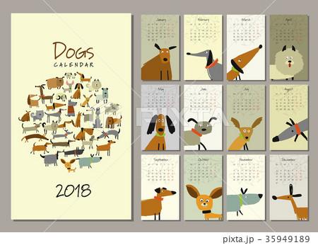 Funny dogs, calendar 2018 design 35949189